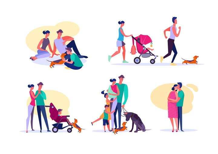 5款扁平插画风格快乐的一家人一起遛狗跑步散步图片免抠矢量素材