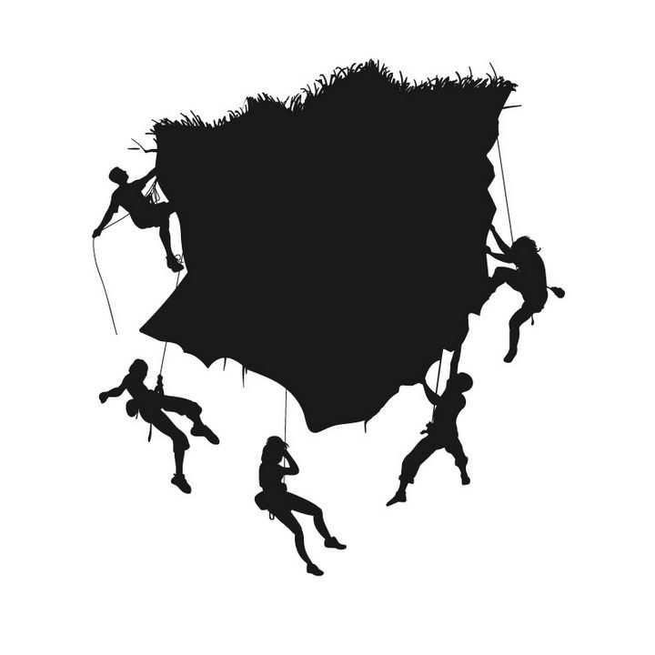 户外运动项目攀岩剪影图片免抠矢量素材