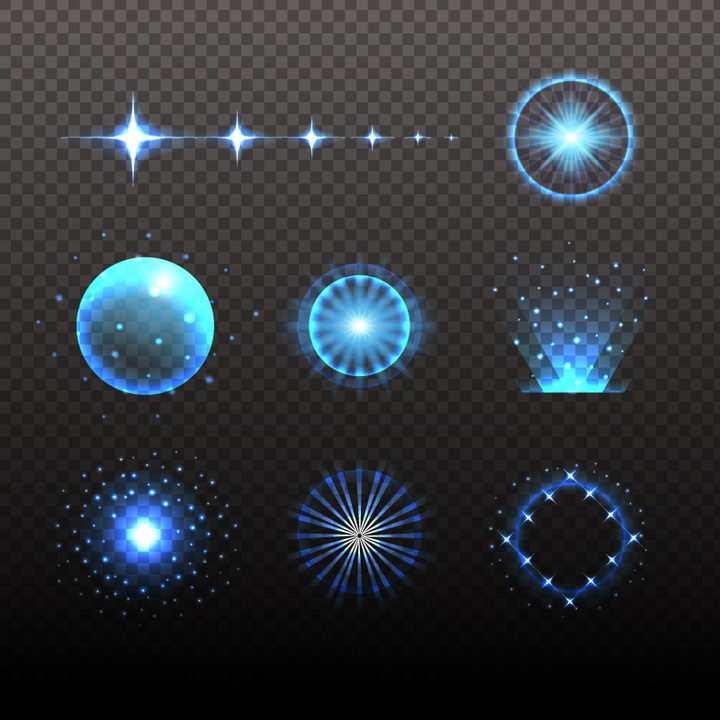 各种蓝色光线圆球辐射光线效果图片免抠矢量图素材