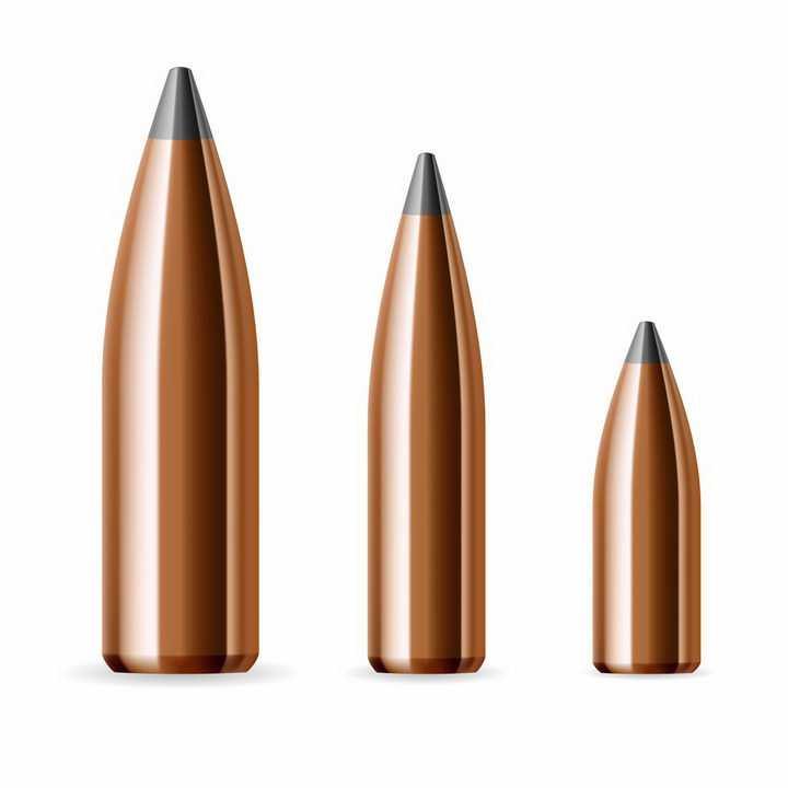3款大小不一的子弹武器装备图片png免抠素材
