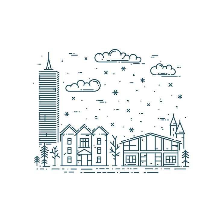 MBE断线风格城市建筑高楼大厦免抠矢量图素材