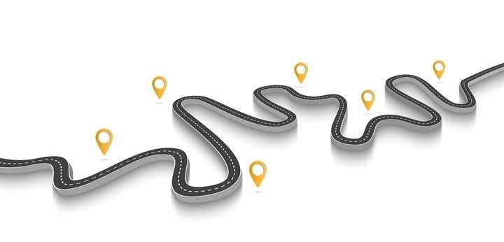 黄色定位图标和弯曲的立体公路道路步骤图时间轴图片免抠矢量图