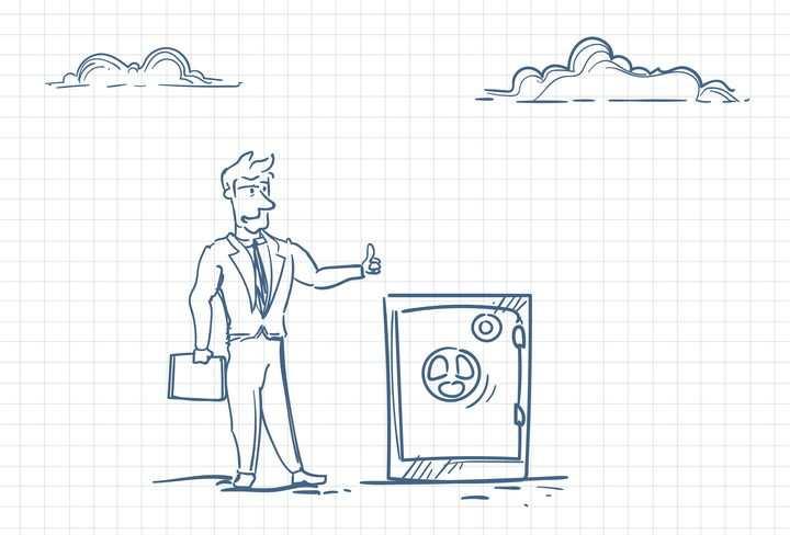 圆珠笔画涂鸦风格对保险柜竖大拇指职场人际交往配图图片免抠矢量素材