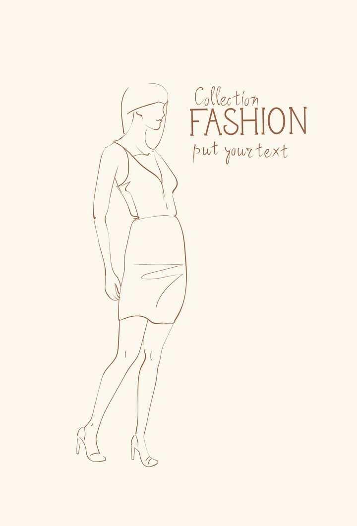 简约线条风格时尚干练职场女装高跟鞋时装设计草图图片免抠矢量素材