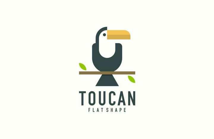 简约卡通巨嘴鸟logo设计方案图片免抠矢量素材
