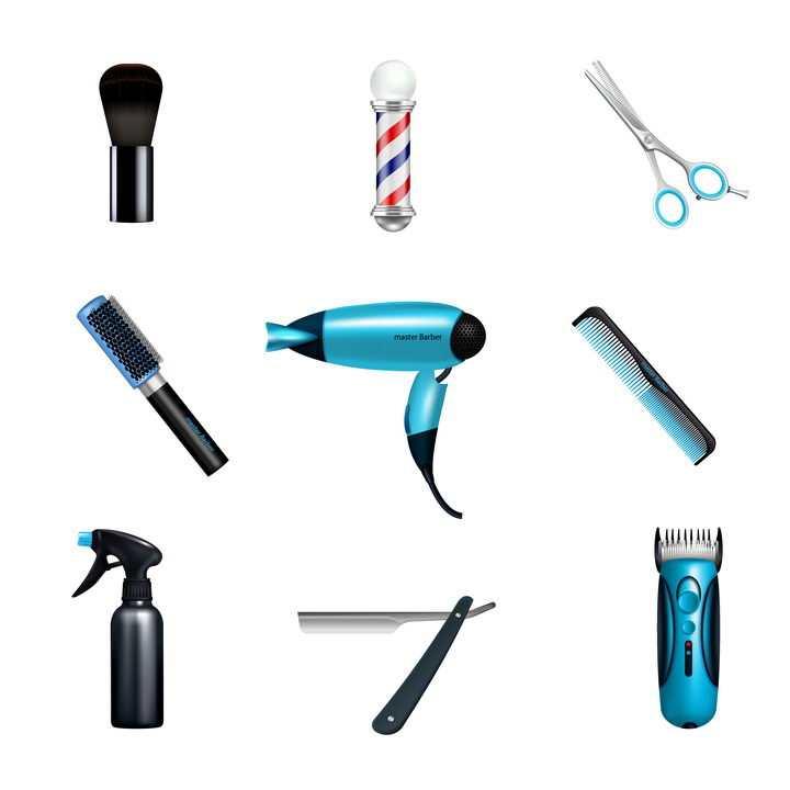 9款刷子花柱剪刀电吹风梳子剃刀电推子等理发店美发店用品图片免抠矢量素材