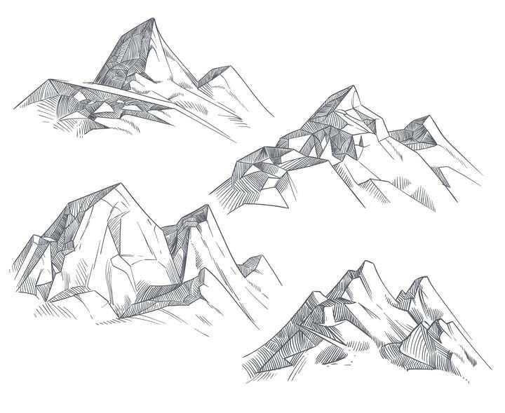 4款手绘线条素描风格大山高山山脉图片免抠矢量素材