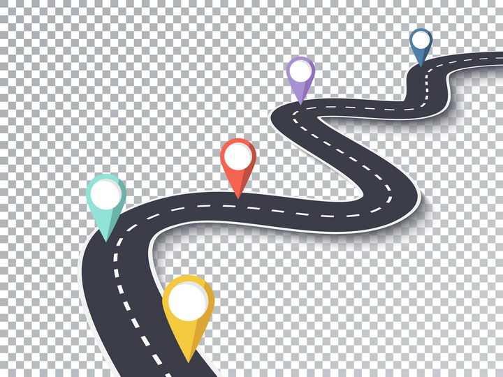 蜿蜒的公路道路以彩色定位标志图片免抠矢量图
