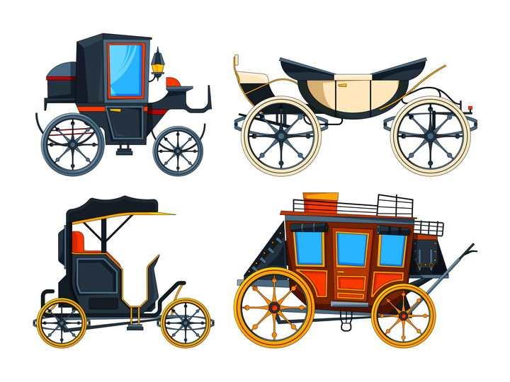 四款复古的马车图片免抠矢量素材