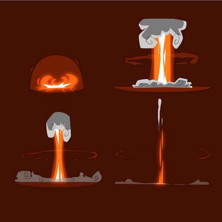 手绘卡通漫画原子弹爆炸效果蘑菇云图片免抠素材