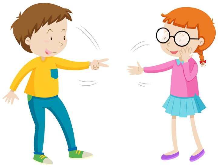 正在玩剪刀石头布的卡通小男孩小女孩图片免抠矢量素材