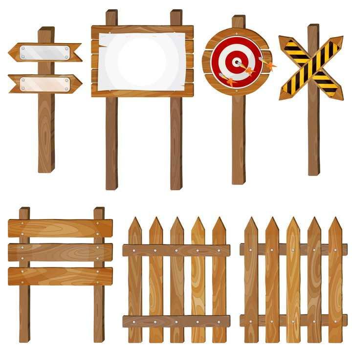 7款木制指示路牌靶子和栅栏图片免抠矢量素材
