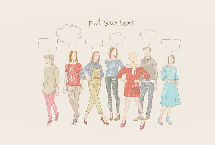 彩色上色手绘素描风格7个时尚休闲女装时装设计草图图片免抠矢量素材