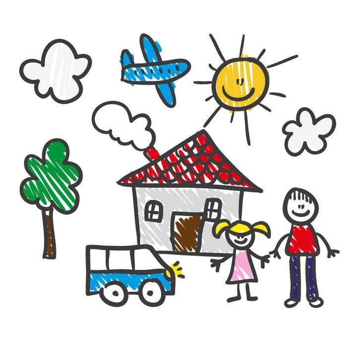 彩色手绘涂鸦一家人房子等儿童画简笔画图片免抠矢量素材 简笔画-第1张
