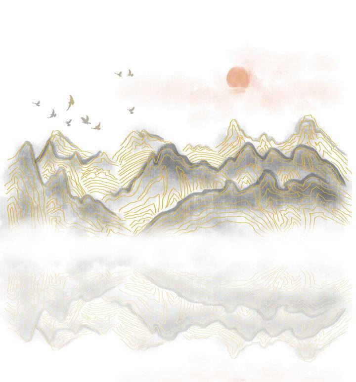 带有金丝装饰的灰色大山和落日风景图图片免抠png素材 插画-第1张