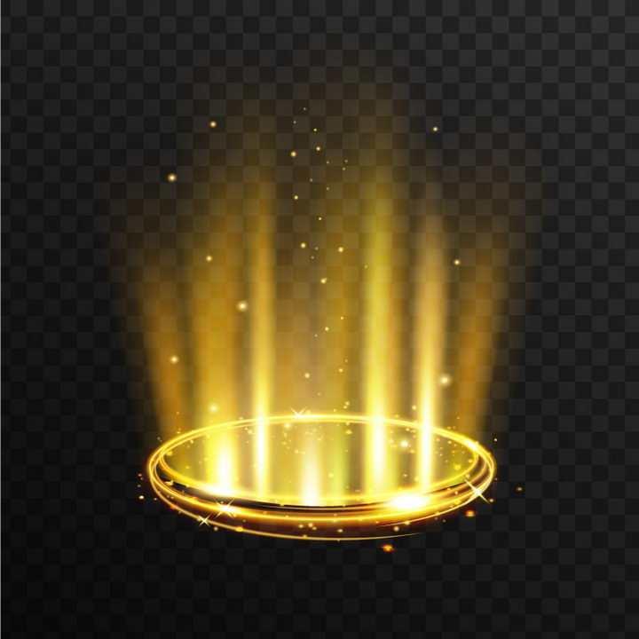 金黄色旋转动感光圈发光效果图片免抠矢量图素材