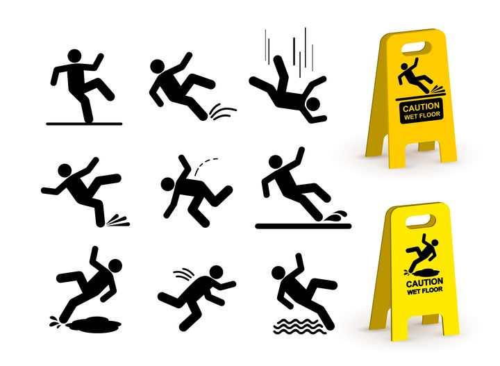 9款小心滑倒警告牌小人图片免抠矢量素材
