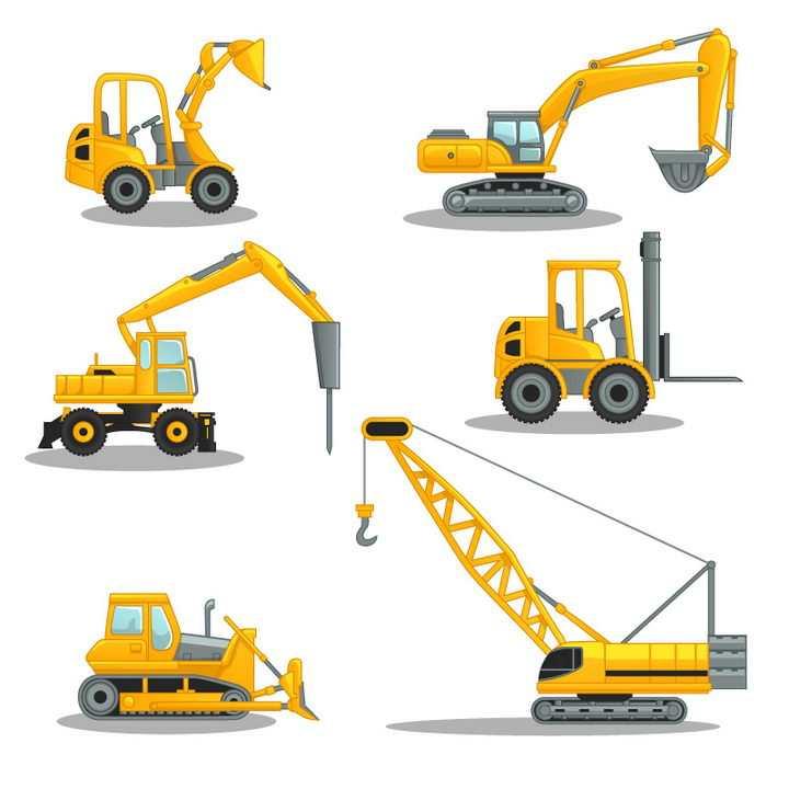 6款黄色的挖掘机挖土机铲车推土机大型吊车等工程机械车辆图片免抠矢量素材