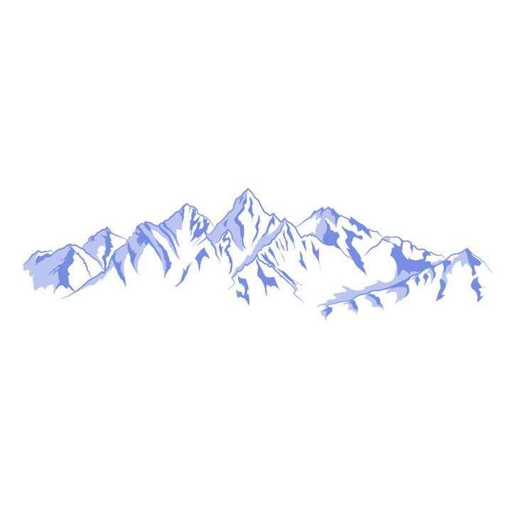 紫色手绘风格群山大山山脉山峰图片免抠矢量素材