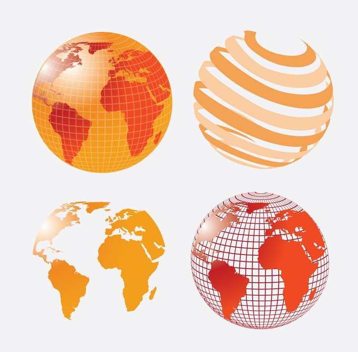 4款橙色红色的抽象风格地球世界地图图案图片免抠矢量素材