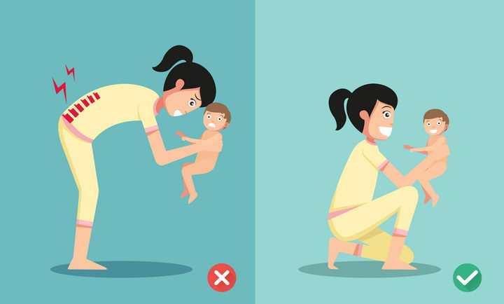 卡通女人下蹲弯腰抱小孩的正确和错误姿势图片免抠素材