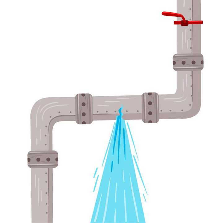 手绘风格损坏漏水的下水道水管图片免抠素材