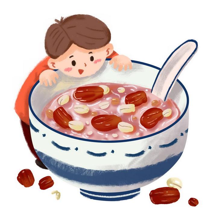 彩绘风格卡通小孩趴在腊八粥八宝粥养生粥腊八节传统美食图片免抠png素材