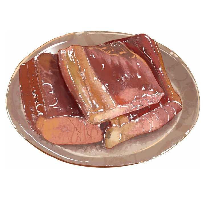 彩绘风格美味腊肉美食图片免抠png素材