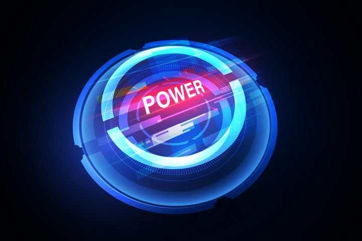 酷炫科幻风格蓝色发光的按钮图片免抠矢量素材