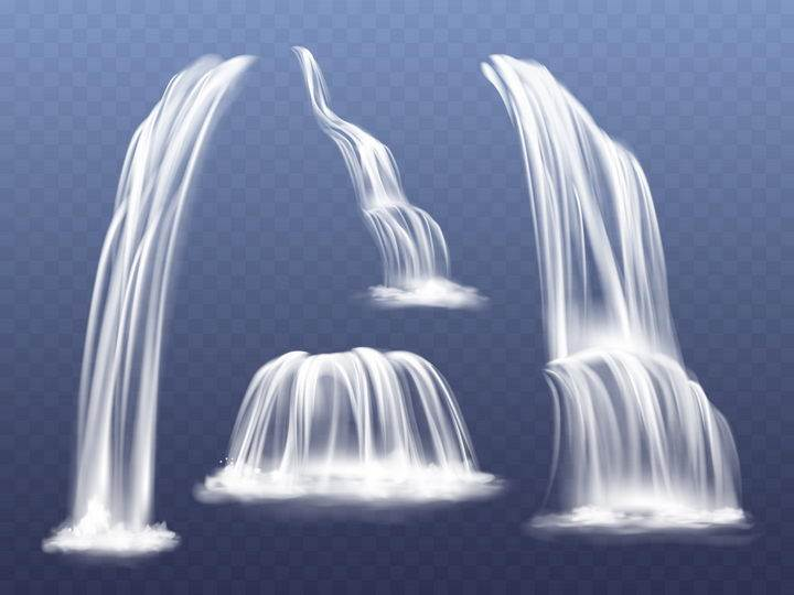 4款流水瀑布效果图片免抠矢量素材
