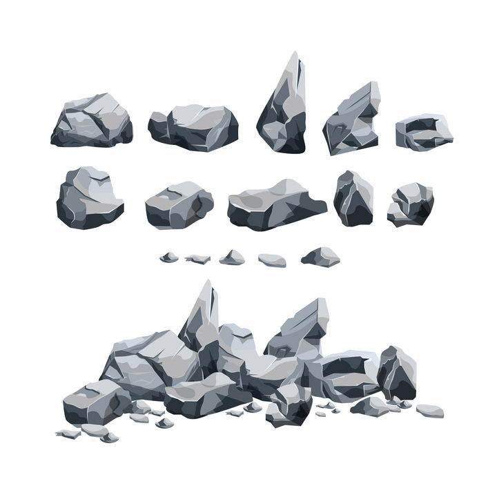 各种破碎的灰色石块石头岩石图片免抠矢量素材