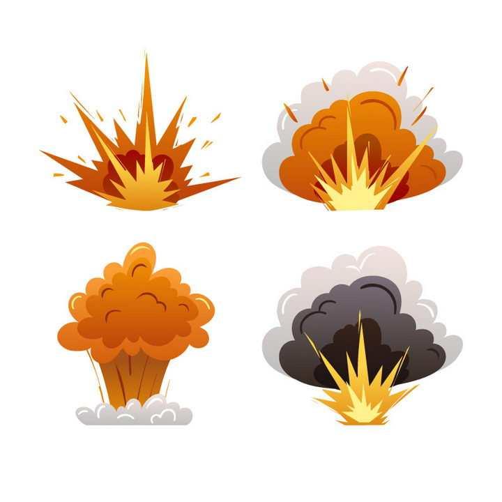4款漫画爆炸和蘑菇云效果图片免抠素材