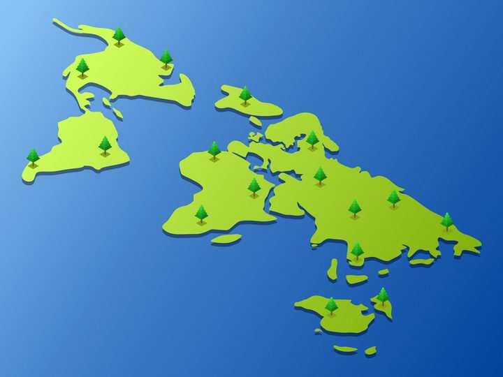 种树的绿色世界地图大陆鸟瞰图图片免抠矢量素材