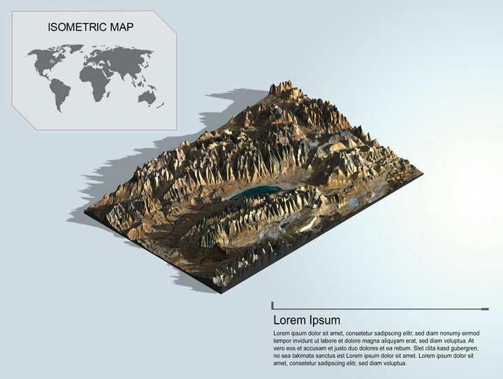 地理地质干旱地区高山中的内流河内流湖泊地形地貌PS 3D模型图片模板