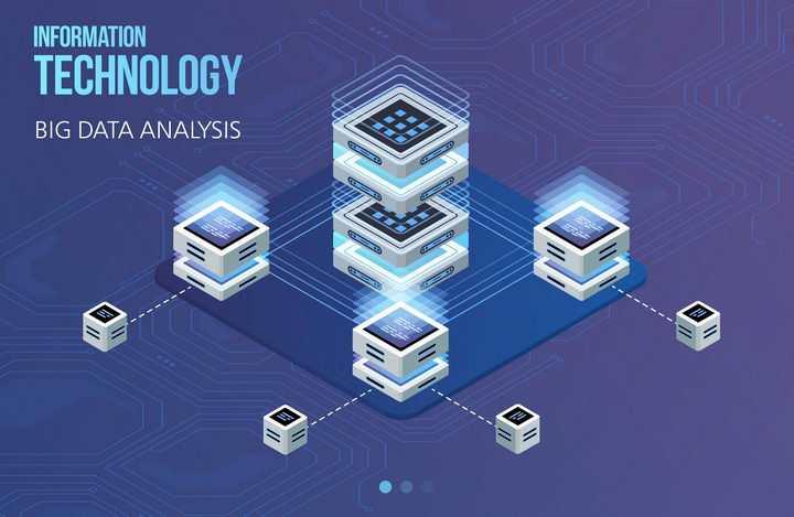 2.5D风格云计算大数据服务器系统架构图片免抠矢量素材