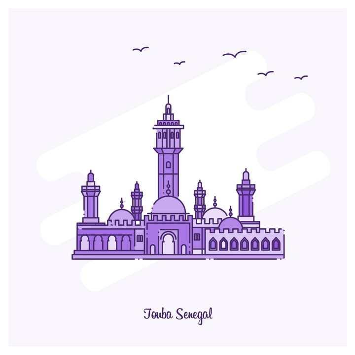紫色断点线条风格城堡建筑旅游景点图片免抠矢量图素材