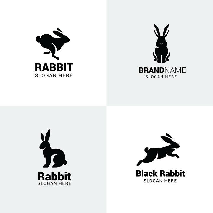 4款小兔子剪影logo设计方案图片免抠矢量素材