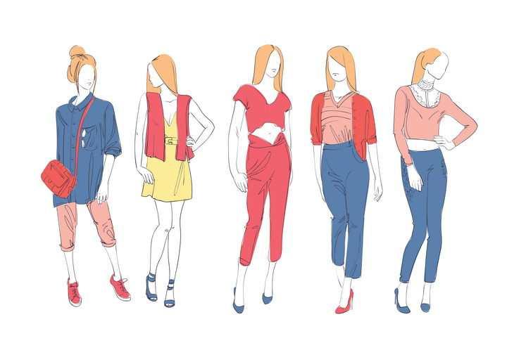 彩色上色手绘风格5个时尚职场女性女装时装设计草图图片免抠矢量素材
