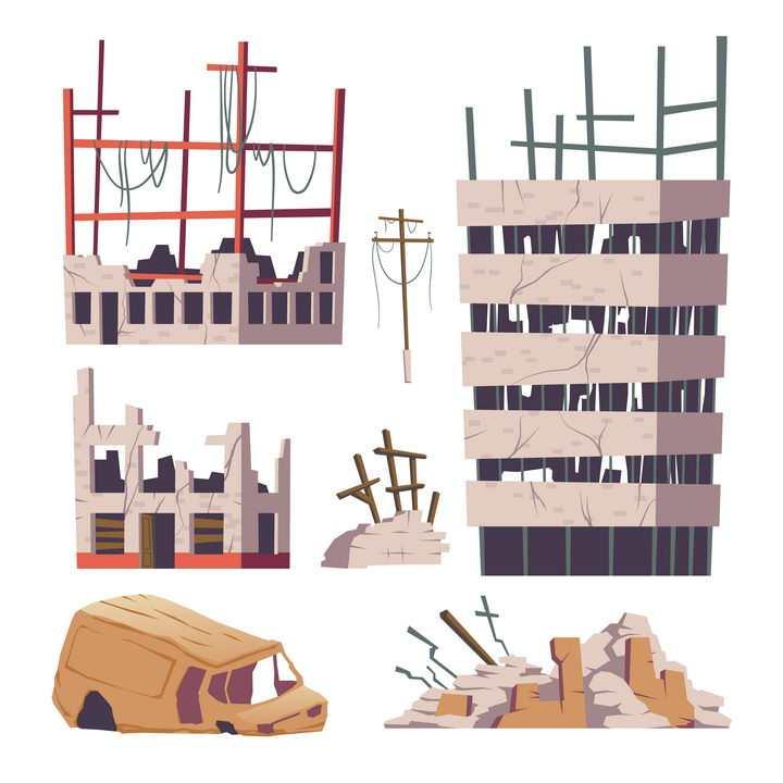 卡通风格破败倒塌的城市建筑图片免抠矢量图素材