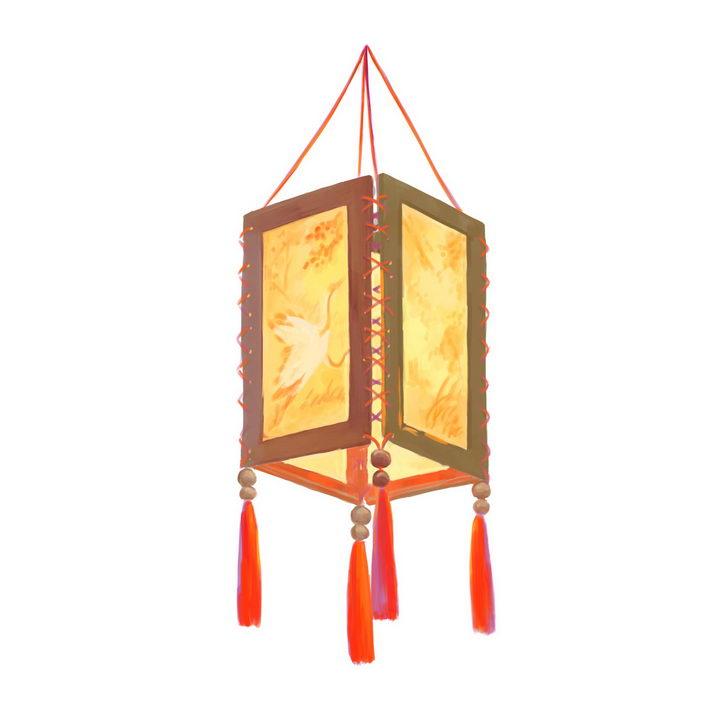 逼真的传统立方体挂灯灯笼图片免抠png素材 节日素材-第1张