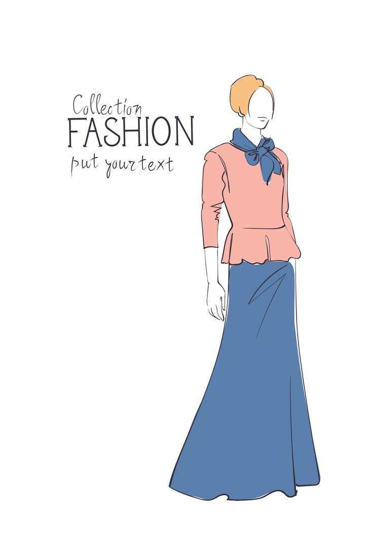 彩色上色手绘风格时尚粉色女装长裙子时装设计草图图片免抠矢量素材