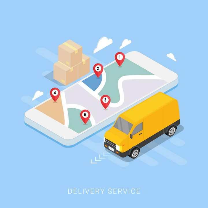 2.5D风格城市定位送货快递货运汽车图片免抠矢量素材
