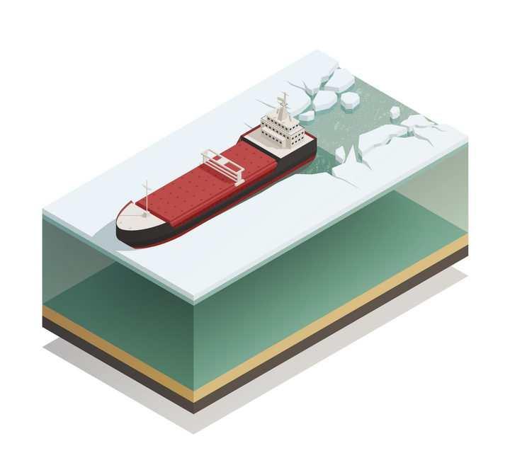 2.5D风格行驶在北极的破冰船图片免抠矢量素材