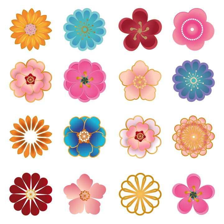 16款金丝边风格的花朵花卉图案图片免抠矢量素材