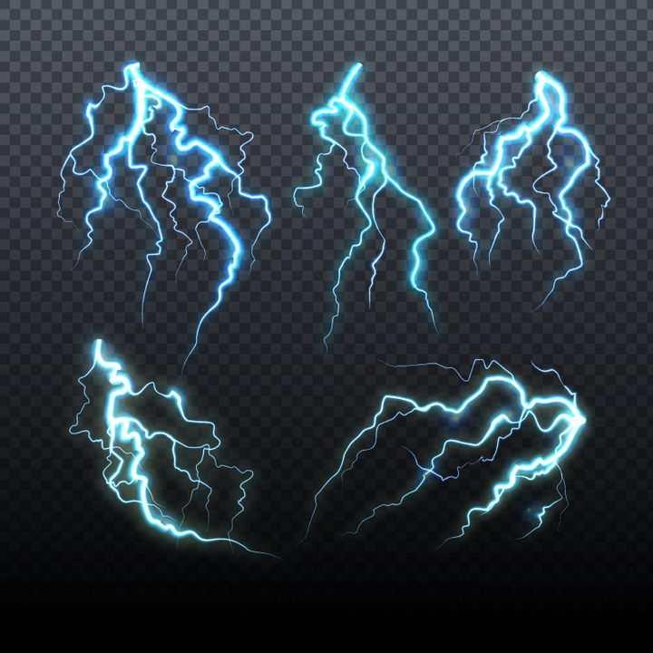 5款蓝色闪电效果图片免抠矢量图素材