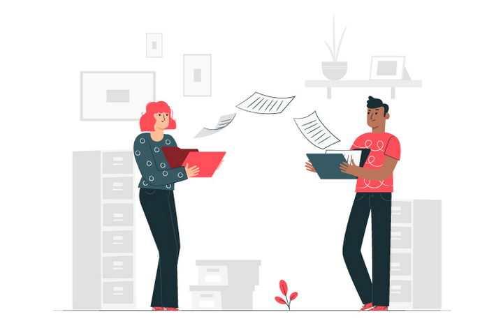 扁平插画风格正在交换文件传递数据的两个商务人士图片免抠矢量素材