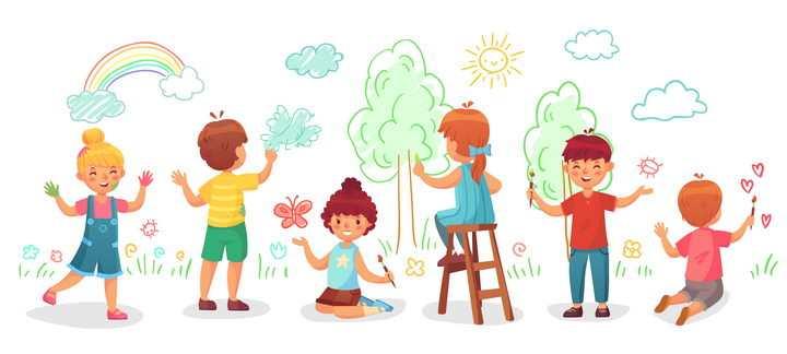 彩色手绘涂鸦风格正在绘画描绘蓝图的卡通小朋友图片免抠矢量图
