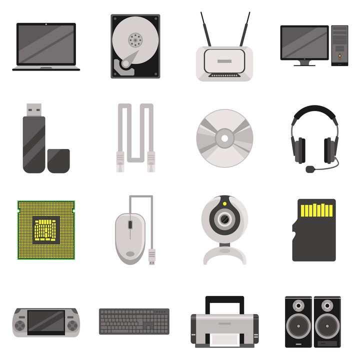 笔记本电脑机械硬盘路由器U盘数据线光盘CPU打印机等IT产品图片免抠素材