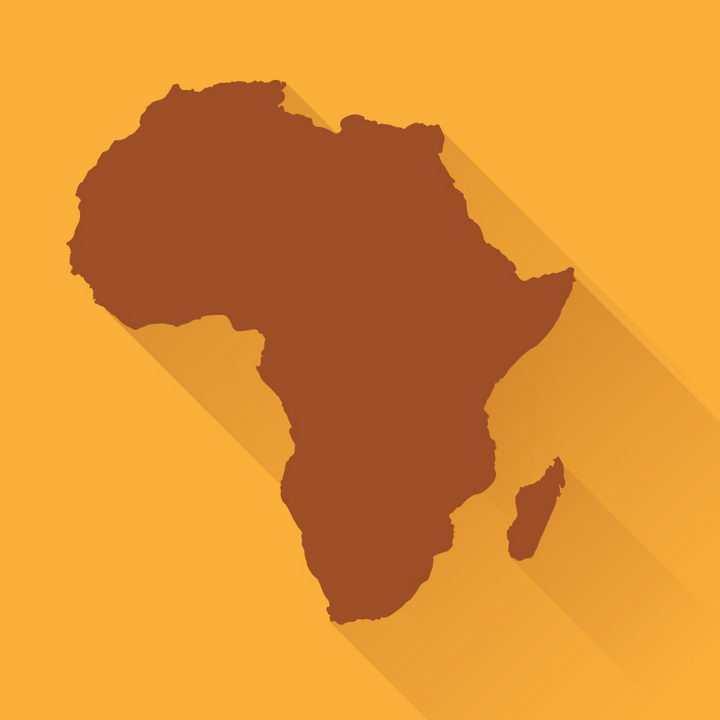 长阴影风格褐色非洲地图图片免抠矢量素材