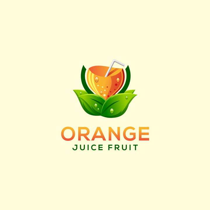 彩色橙汁树叶logo设计方案图片免抠素材